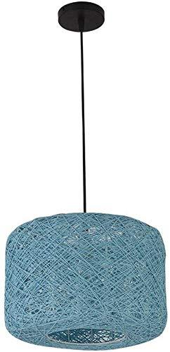 JIAN Exquisite ZjNHL Moderne lantaarn hanglamp van rotan, knutselen, bamboe, tropisch, Wicker Shades Weave, hanglamp, plafond, binnenverlichting (kleur: blauw, maat: 40 cm) 30CM Blauw