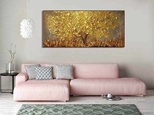 Orlco Art Wall Decoration Hand Painted Landscape Flower Wall Art Abstract Palette Knife Gold Tree Blossom Oil Painting On Canvas Family Wall Living Room Art Wall Decor Stretched Gold 24X48inch
