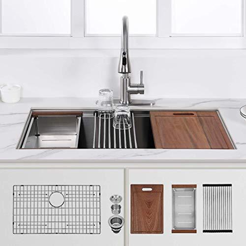 32-inch Undermount Kitchen Sink,Single Bowl Stainless Steel Kitchen Sink 18 Gauge,Workstation R0 Radius Handmade All in One Kitchen Sink with Ledge