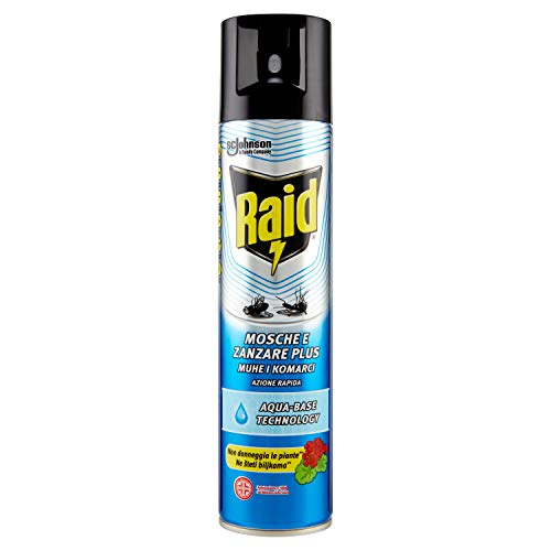 Raid Mosche e Zanzare Plus, Aqua Base Technology, Insetticida Spray, 1 Confezione da 400 ml