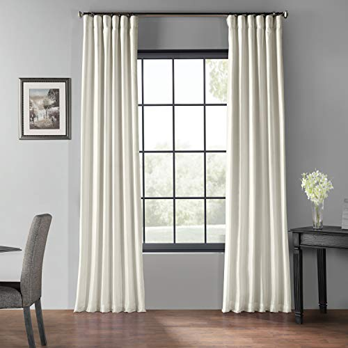 HPD Half Price Drapes PDCH-KBS2BO-108 Blackout Vintage Textured Faux Dupioni Curtain (1 Panel), 50 X 108, Off-White