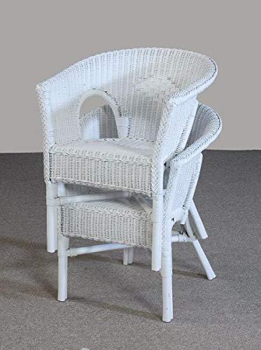 Rattansessel weiß Esszimmersessel Korb-Sessel Rattanmöbel Rattan-Sessel Rattanstuhl mit Armlehnen Lounge Flechtsessel zweier Set