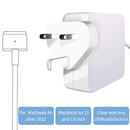 Replacement for Mac-Book Air Charger, 45W MagSafe 2 Power Adapter Magnetic T-Tip Ac Charger for MacBook Air 11-inch and 13-inch (45WT)