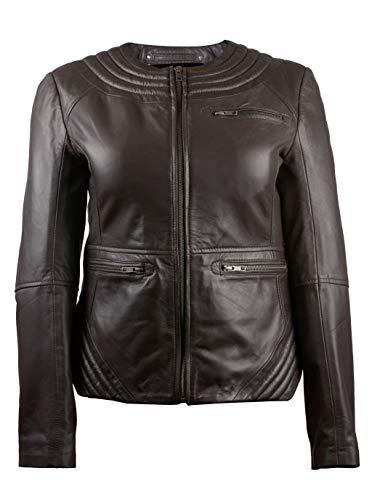 TheSmartSales Vogue Voyager marrón para mujer de imitación por encargo de cuero chaqueta - marrón - XS