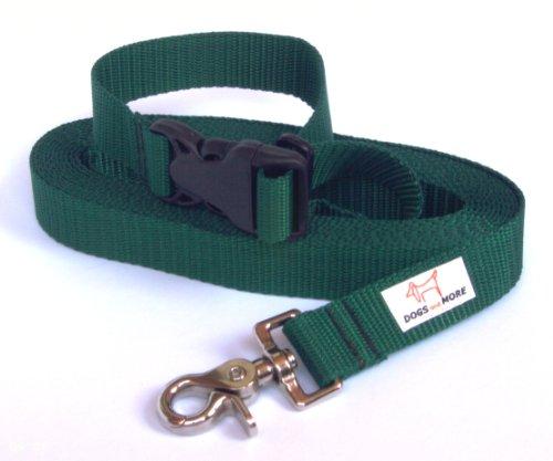 """DOGS and MORE - VERLÃ""""NGERBARE Schleppleine mit LÖSBARER Handschlaufe - Basis 5 Meter (Grün; 25 mm breit) / Suchleine/Feldleine"""