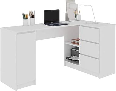 Hucoco BALAUR   Bureau Informatique d'angle   155x85x77 cm   3 tiroirs + niches   Table d'ordinateur   Mobilier Burea