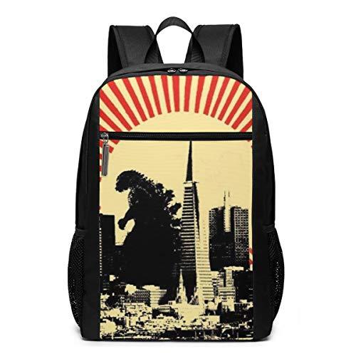 Godzilla King of the Monsters Jungen Mädchen Buchtasche 43,2 cm Rucksack personalisierbar Cool Junior High School Reisen Sport Taschen Laptop Rucksäcke für Männer Frauen