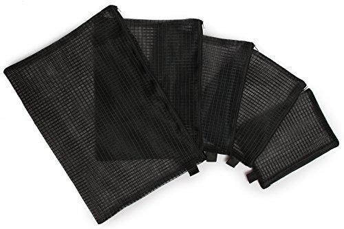 Sun Life Style Atmungsaktive Allzweck - Netztasche Mit Reißverschluss, 5 Stück Für Reiseutensilien, Kosmetik, Stifte, Medikamente und vieles mehr (Set, Schwarz)