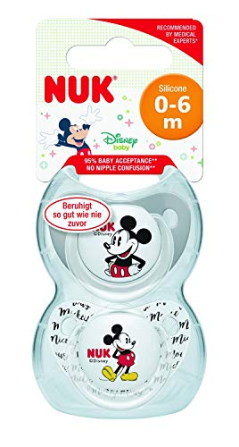 NUK Disney Baby Dummies | 0-6 meses | Soothers de silicona | Sin BPA | Mickey y Minnie Mouse | 2 unidades