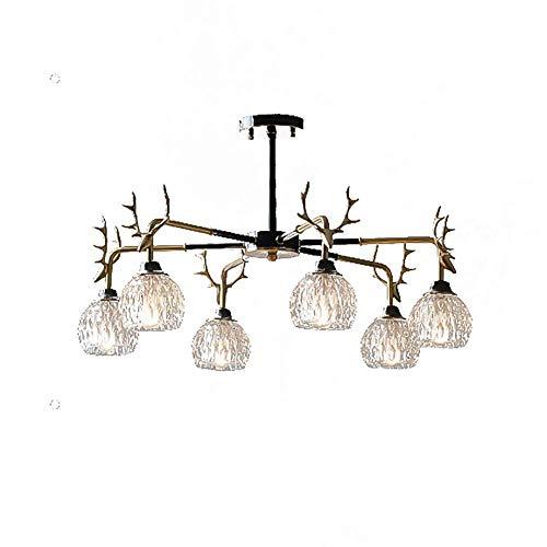 HLL Candelabro, candelabro Sputnik vintage, astas de cristal, luz colgante creativa, sala de estar antigua, dormitorio, luz de techo/lámpara, 6 luces, iluminación de candelabro de rama de mediados