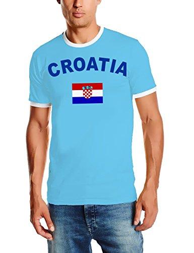 EM 2016 Kroatien Fußball T-SHIRT TRIKOT mit Deinem NAMEN + NUMMER ! HERI Ringer Sky Gr.L