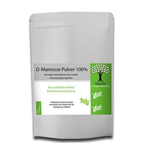 Nutrivid reines D-Mannose Pulver gegen Blasenentzündung 100g-250g naturbelassen aus Mais 100% zertifizierte Qualität VEGAN (leicht süßlich, 50g)