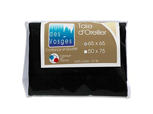 Nuit des Vosges 2106527 Cotoval Taie d'Oreiller Uni Coton Noir 65 x 65 cm