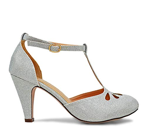 Chase & Chloe Kimmy-36 Women's Teardrop Cut Out T-Strap Mid Heel Dress Pumps (8.5, Silver Glitter)