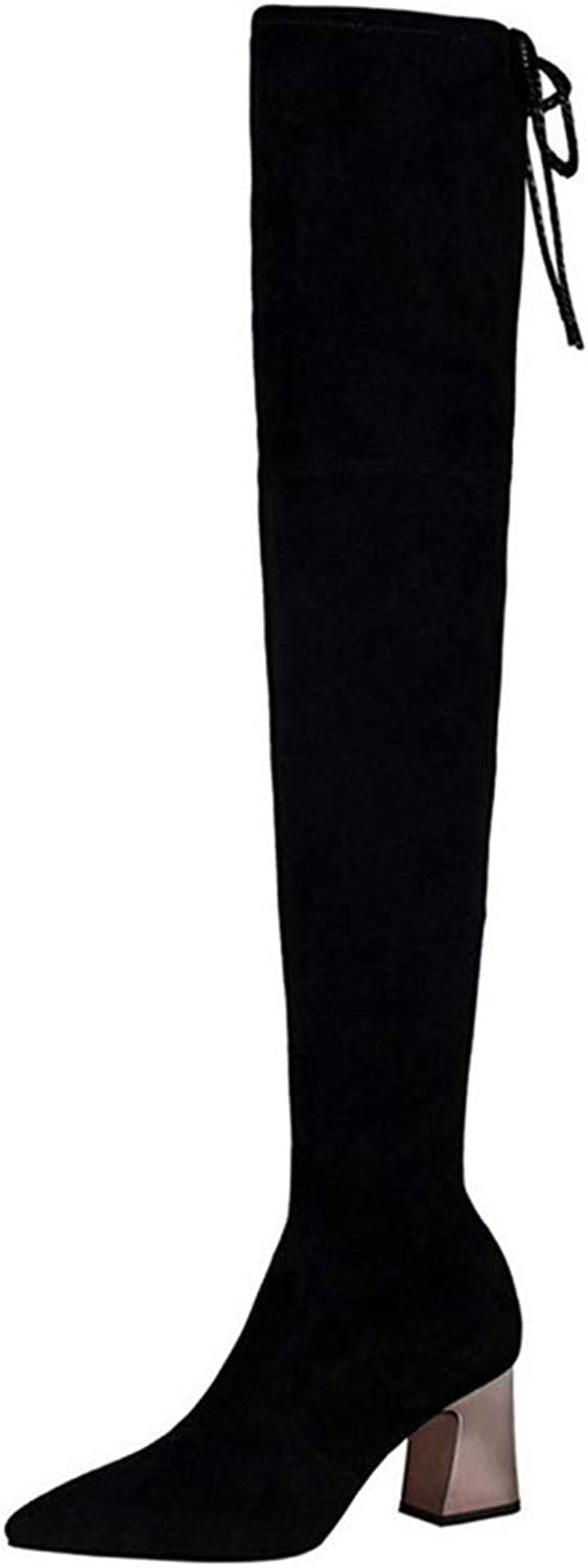 Spring Boot Thin Solid Black Women's Over The Knee Boots Sexy Pointed Toe High Heels Fashion shoes