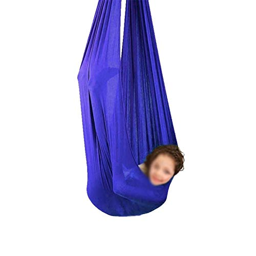 Therapy Swing For Kids Breathable Hammock Indoor Snuggle Cuddle Children With Autism ADHD And Aspergers And Sensory Integration (Color : Sapphire blue, Size : 100x280cm/39x110in)