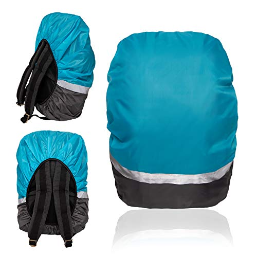 EOC Wasserfester Schutz für Rucksack Schulranzen 30-45L, Rutschfester Gummizug, hohe Sichtbarkeit Regenschutz, reflektierende auffällige Farben, für Wandern und Camping (Blau/Grau, M - 30-45 L)