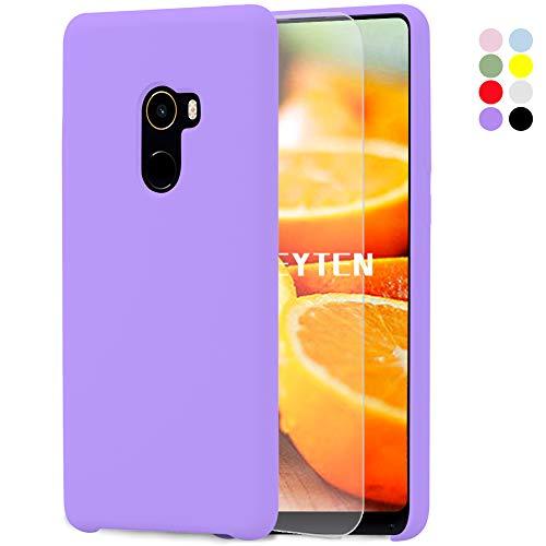 Feyten Funda para Xiaomi Mi Mix 2 [Cristal Vidrio Templado],Slim Líquido de Silicona Gel Carcasa Anti-Rasguño Protectora Caso (Violeta Claro)
