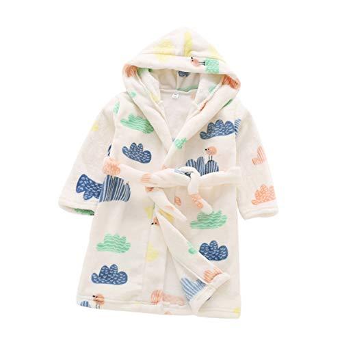 DEBAIJIA Bebé Albornoz 0-14T Recién Nacido Bata de Noche Infantil Pijama Niños Ropa de Dormir Casa Camisones Unisexo Niña Niño(Blanco-120)