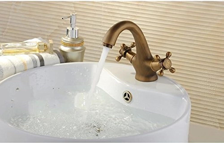 ETERNAL QUALITY Badezimmer Waschbecken Wasserhahn Messing Hahn Waschraum Mischer Mischbatterie Tippen Sie auf Bad Armatur Antik Messing - Warme und Kalte Waschbecken Mixer Küchenspüle Armaturen
