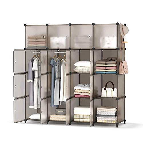 HOMIDEC Portable Closet Wardrobe with Clothes Hanging Rod Closet Organizers and Storage Shelves Cabinet Armoire for Bedroom 56x18x56 16 Cube