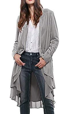 R.Vivimos Womens Ruffled Asymmetric Long Velvet Blazers Coat Casual Jackets (Large, Silver) by