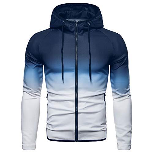 Men's Sweatshirt Men Hoodie Zipper Casual Drawstring Gradient Color Comfortable Men Pullovers New Slim Soft Fabric Outdoor Sport Workout Men Sports Jacket C-White L