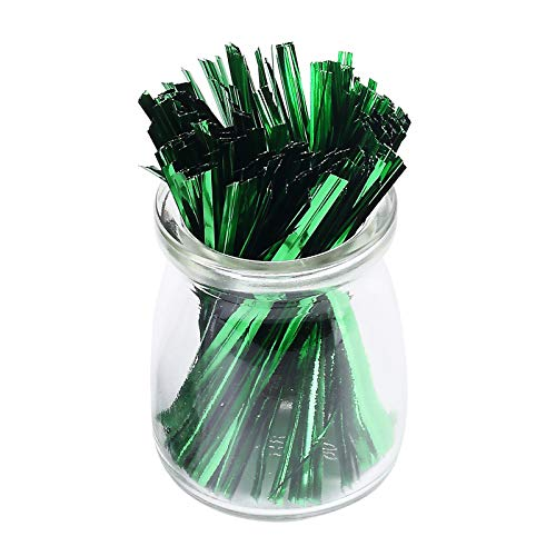 Sago Brothers 200pcs 4 Inches Metallic Twist Ties (Green)