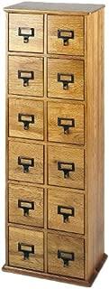 Leslie Dame Solid Oak Library Card File Media Cabinet, 12 Drawers, Oak