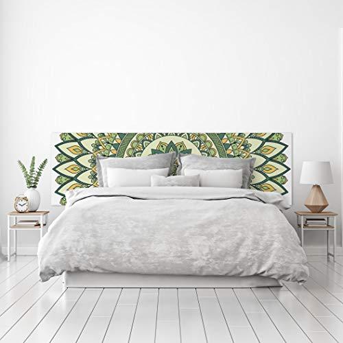 MEGADECOR Cabecero Cama PVC Decorativo Económico Diseño Geométrico Mandala de Tonos Verdes Varias Medidas (150 cm x 60 cm)