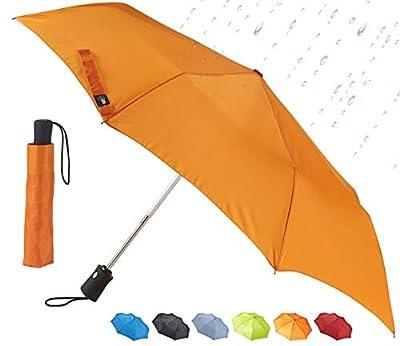 Lewis N. Clark Travel Umbrella: Windproof & Water Repellent with Mildew Resistant Fabric, Automatic Open Close & 1 Year Warranty, Orange