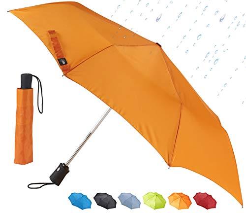 Lewis N. Clark Guarda-chuva para viagem, Guarda-chuva de viagem: tecido repelente de água e à prova de vento com fecho automático de abertura, Laranja, One Size