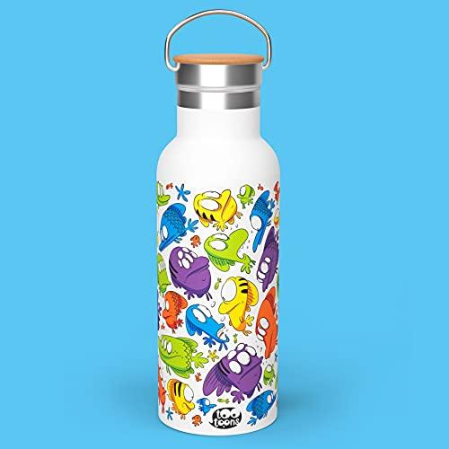 Tootoons - Botella de metal isotérmica vintage con diseño de cartoon de peces – Capacidad: 500 ml – Tapón de bambú