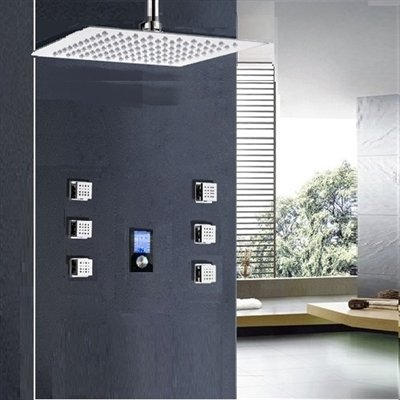 %14 OFF! Trialo Solid Brass Color Changing Water Powered Led Shower with Adjustable Body Jets and Di...