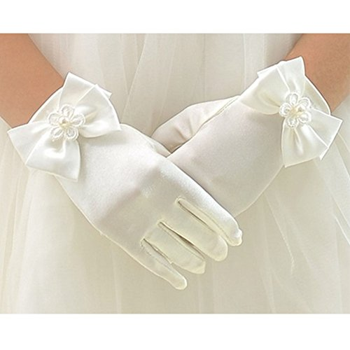 Tandi Girls Gorgeous Satin Fancy Gloves for Special Occasion Dress Formal Wedding Pageant Party Short (Large, Beige)