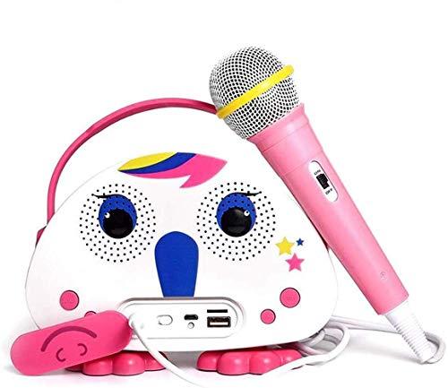 Neueste Kinder Bluetooth Karaoke-Maschine mit Mikrofon Einhorn, Kinder Karaoke Wireless-Lautsprecher für Indoor Outdoor-Aktivitäten Party Bestes Geschenk für Kinder (Rose)