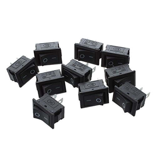 TOOGOO 10 Pcs SPST Negro 2 Pin Balancin Interruptor AC 125V 10A 250V 6A