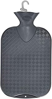 Fashy Classic Rubber Hot Water Bottle Single Ribbed 2.0L, Grey-Made in Germany