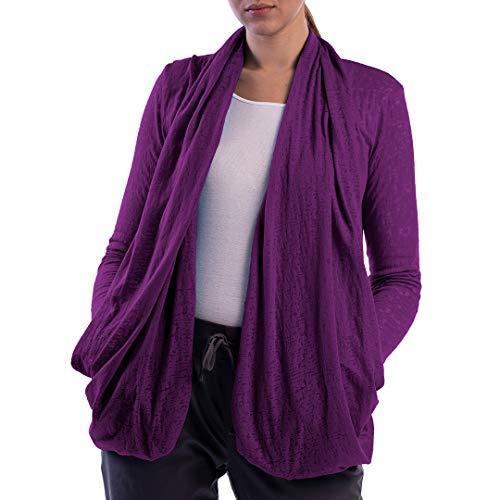 SCOTTeVEST Women's Lucy Travel Cardigan | 4 Secure Pockets | Anti-Pickpocket Violet