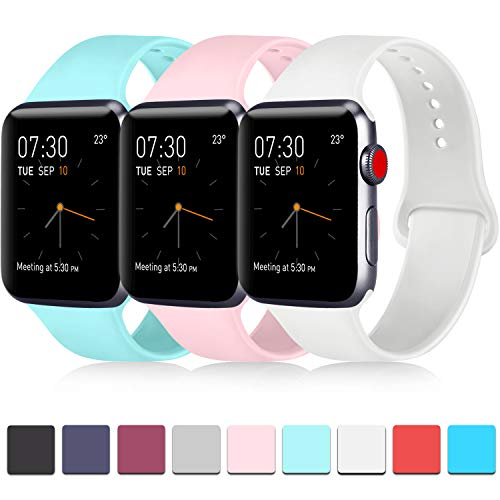 Pack 3 Compatible with Apple Watch Bands 38mm, Soft Silicone Band Compatible iWatch Series 4, Series 3, Series 2, Series 1 (Light Blue/Pink/White, 38mm/40mm-S/M)