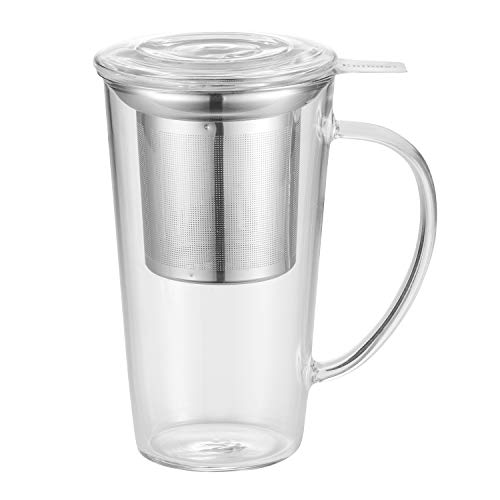 Enindel 3020.02 Glass Tea Mug with Infuser and Lid, Tea Cup, Clear, 16 OZ, GM002