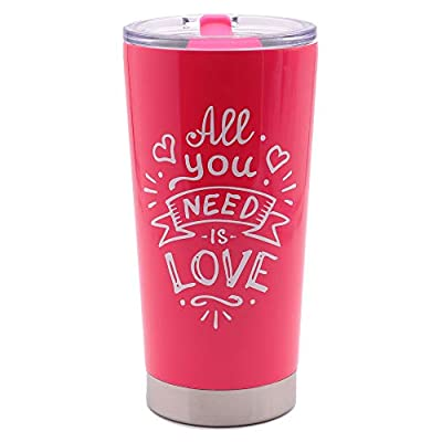All You Need Is Love - Wedding Anniversary Gifts for Bride Mom Wife Girlfriend Grandma - 20oz Vacuum Insulated Stainless Steel Travel Mug with Lid by MugHeads (Pink)