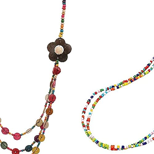chaosong shop 2 piezas retro bohemia hecha a mano con múltiples capas de cuentas de playa para mujeres y niñas