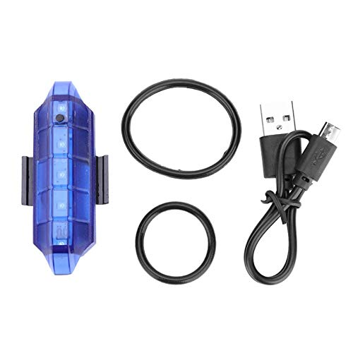 Luz Trasera para Bicicleta, luz Trasera LED para Bicicleta, plástico, 5 LED, luz de Advertencia de Bicicleta Recargable por USB, Resistente y Duradero, Accesorio para Equipo de(Blue)