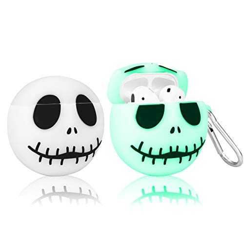 STSNano Cute Case for AirPod 2/1, Cartoon Character Design Funny Kawaii Fun Air Pods Soft Silicone Cover, Unique 3D Trendy for Girls Boys Women Teen Cases for AirPods 2&1 (Luminous Skull)