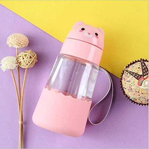 Borraccia in vetro con cannuccia per bambini, design semplice, 100% senza BPA, non tossico per acqua calda e fredda, ecologica, riutilizzabile, 350 ml