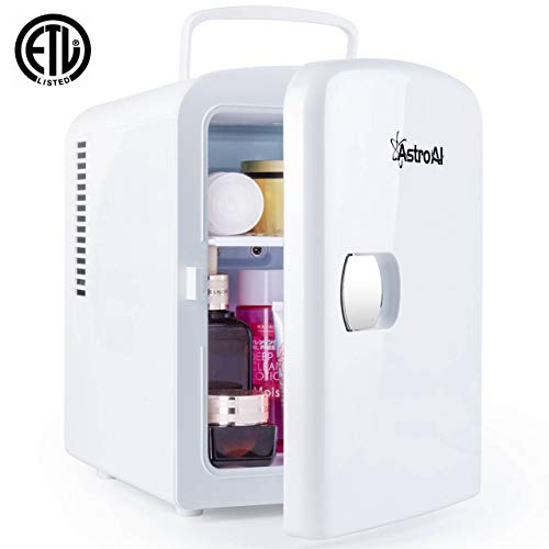AstroAI Mini Fridge 4 Liter/6 Can AC/DC Portable Thermoelectric Cooler and Warmer for Skincare, Breast Milk, Foods, Medications, Bedroom and Travel (White)