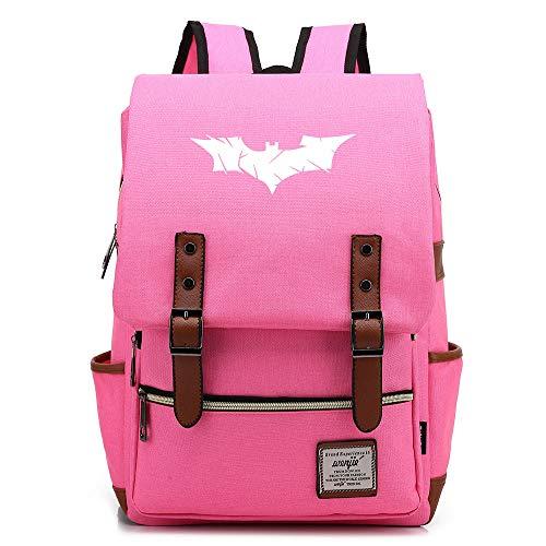 Batman The Dark Knight The Bat Rucksack Herren Schulrucksack, Laptop-Rucksack für Jungen Mädchen Für 14-Zoll-Laptop 16inch Unisex Leichte 17L College-Rucksack Daypack (HellPink,03)