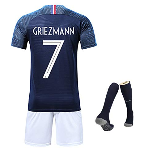 YANDDN WM 2018 Frankreich Mbappe Nr. 10 Griezmann Nr. 7 Heimtrikot, 100-jähriges Jubiläum Gedenktrikot + Socken schicken-blue7-XL