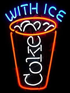 LOHIGHH Coke ICE NEON Printed Metal TIN Wall Sign/Plaque BAR Pub Man CAVE Cool Novelty Gift (2583)
